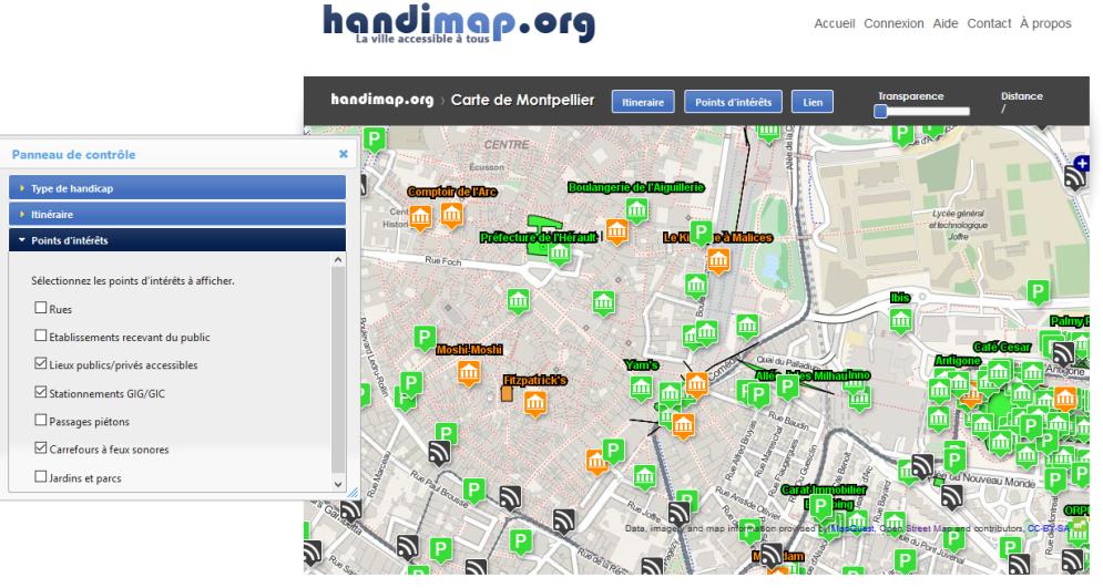 Extrait de la carte de Handimap.org à Montpellier