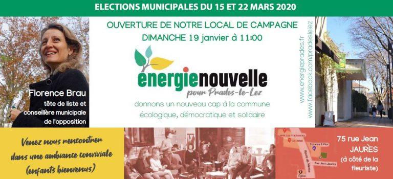Dimanche 19 janvier : inauguration de notre local de campagne